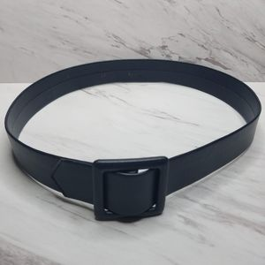 Vintage Blue Leather Square Buckle Belt Size 12